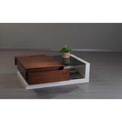 213 Plus Cartier Coffee Table Color: White / Walnut
