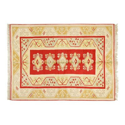 Milas Hand-Knotted Cream Area Rug