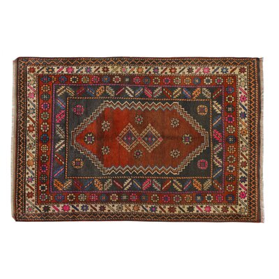 Hand-Knotted Red/Blue Area Rug