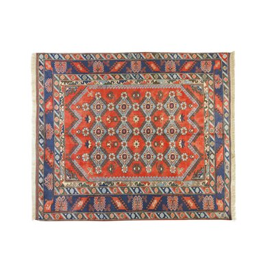 Kilim Obruk Hand-Knotted Red/Blue Area Rug