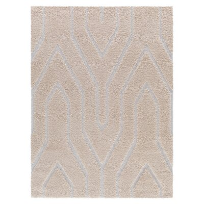 Briony Platinum Shag Beige Area Rug Rug Size: Rectangle 52 x 72