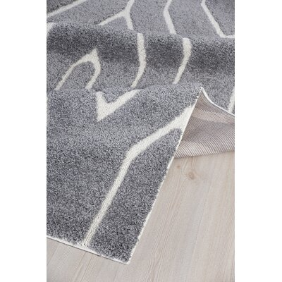 Briony Platinum Shag Gray Area Rug Rug Size: Rectangle 5'2