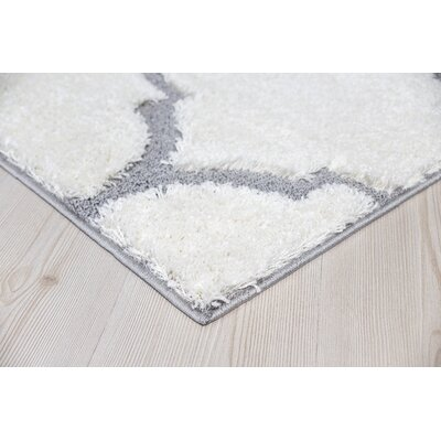 Beverly Platinum Shag White Area Rug Rug Size: Square 6' x 6'
