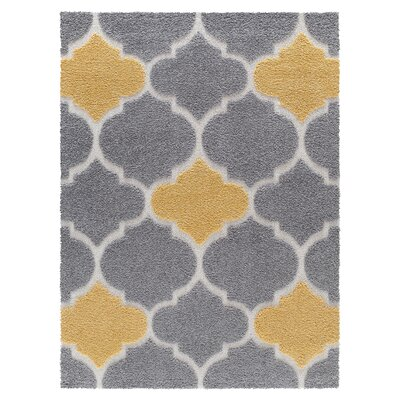 Swedish Hill Platinum Shag Gray/Yellow Area Rug Rug Size: Rectangle 4 x 6