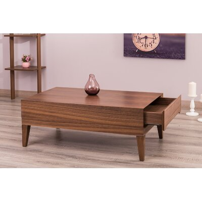 Ariah Lacquer Modern Coffee Table with Storage Color: Walnut