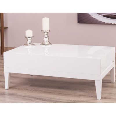 Ariah Lacquer Modern Coffee Table with Storage Color: White