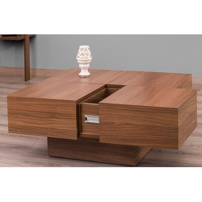 Morris Lacquer Lift Top Coffee Table Color: Walnut