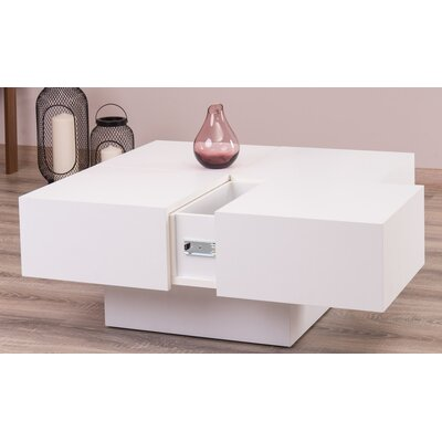 Morris Lacquer Lift Top Coffee Table Color: White