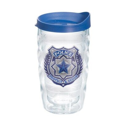 Police Officer 10 Oz. Wavy Tumbler with Lid Lid Color: Blue