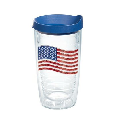 American Pride Sequin American Flag Tumbler Size: 16 oz., Lid Included: Yes 1136459