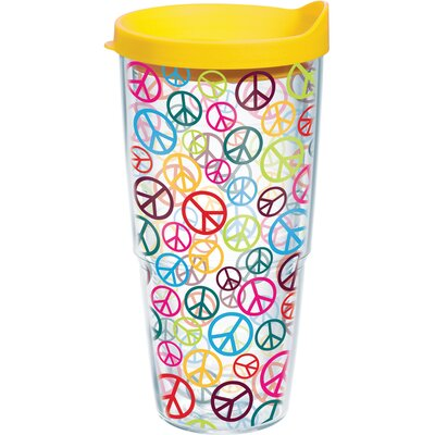 Totally Kids Peace Signs Wrap Plastic Travel Tumbler Size: 24 oz. 1079074
