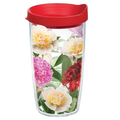Garden Party Peonies From Heaven Tumbler with Lid Size: 16 oz., Lid Color: Red 1167498