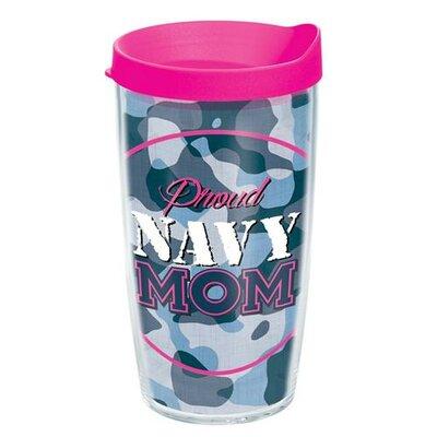 Patriotic Proud Navy Mom Tumbler with Lid Size: 16 oz.