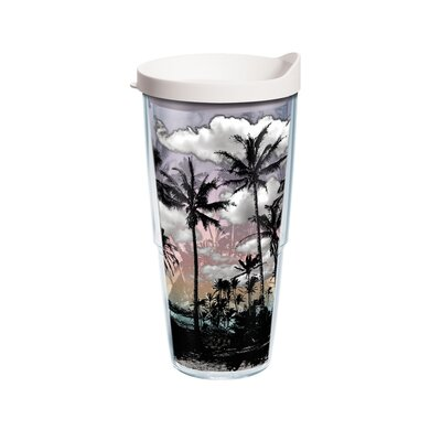 Sun and Surf Palm Trees 24 Oz. Tumbler with Lid 1097606