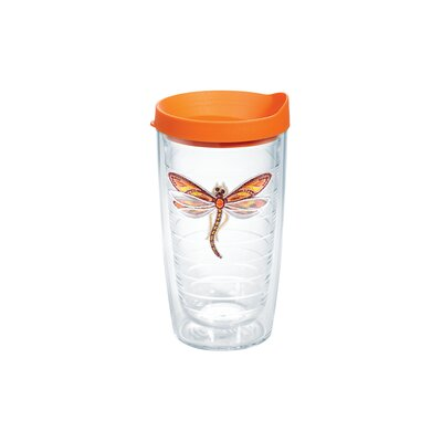 Garden Party Dragonfly Shimmer 16 Oz. Tumbler Color: Orange 1137030