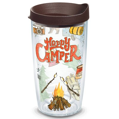 Great Outdoors Happy Camper Plastic Travel Tumbler Size: 16 Oz. 1218220