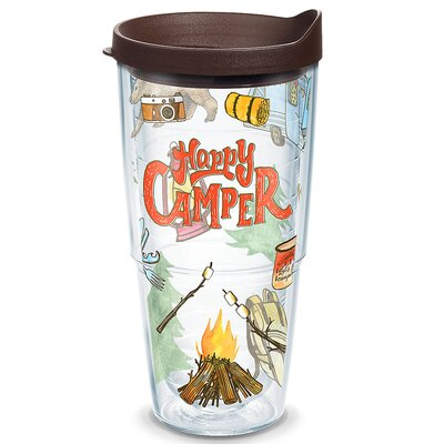Great Outdoors Happy Camper Plastic Travel Tumbler Size: 24 Oz. 1218222