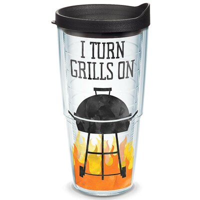 Eat Drink Be Merry I Turn Grills on Plastic Travel Tumbler Size: 24 Oz. 1247874