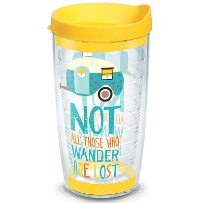 Great Outdoors Retro Camper All Who Wander Plastic Travel Tumbler 1219205