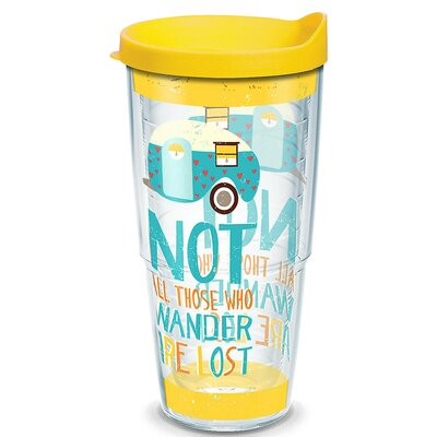 Great Outdoors Retro Camper All Who Wander Plastic Travel Tumbler 1219643