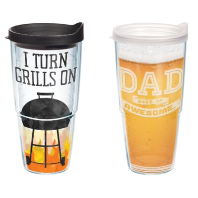 Awesome Dad and Grilling Gift 2 Piece 24 oz. Plastic Travel Tumbler Set 1263988