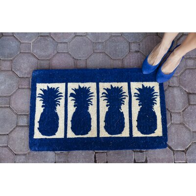 Cranford Four Pineapples Hand-Woven Coconut Fiber Doormat