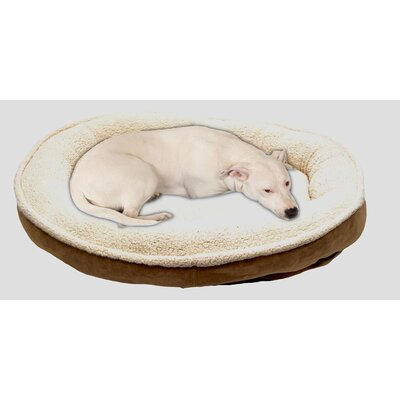 Cloud Sherpa and Faux Suede Comfy Cup Dog Pillow Size: Medium (36 L x 32 W), Color: Chocolate