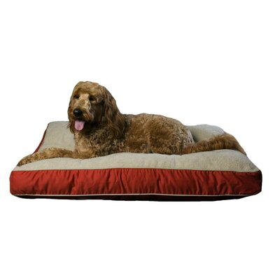 Four Season Pet Bed with Cashmere Berber Top in Blue with Khaki Cording Size: X-Large, Color: Red