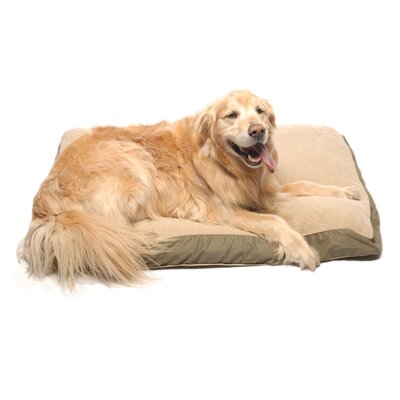Four Season Pet Bed with Cashmere Berber Top in Olive with Khaki Cording Size: X-Large