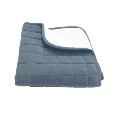 Box Quilt Microfiber & Sherpa Pet Throw in Blue Size: Large