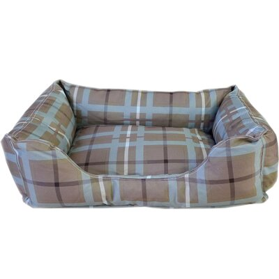 Brutus Tuff Kuddle Lounge Bolster Dog Bed Size: Large (36 L x 27 W), Color: Blue / Brown Plaid