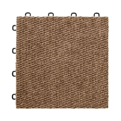 12 x 12  Premium Interlocking Basement Floor Carpet Tile in Brown