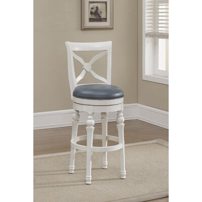 Livingston Swivel Bar Stool Finish: Antique White, Upholstery: Cornflower Bonded Leather