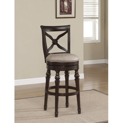 Livingston 26 inch Swivel Bar Stool Upholstery: Camel Bonded Leather, Finish: Sierra