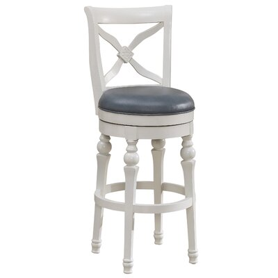 Livingston 26 Swivel Bar Stool Frame Color: Antique White, Upholstery: Cornflower Bonded Leather
