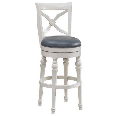 Livingston 26 Swivel Bar Stool Frame Color: Antique White, Upholstery: Cornflower Bonded Leather
