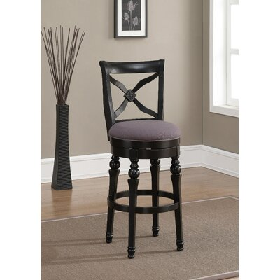 Livingston Swivel Bar Stool Finish: Antique Black, Upholstery: Smoke Linen