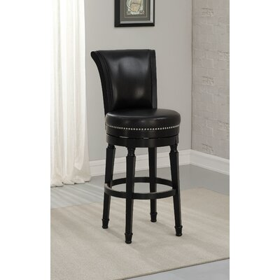 Chelsea 30 Swivel Bar Stool Upholstery: Black