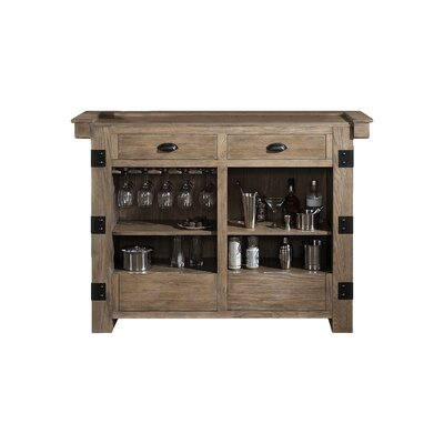 Armono Bar with Wine Storage Finish: Weathered Oak
