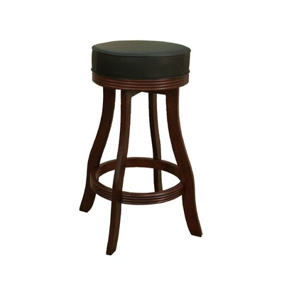 Designer Stool in English Tudor with Black Leatherette