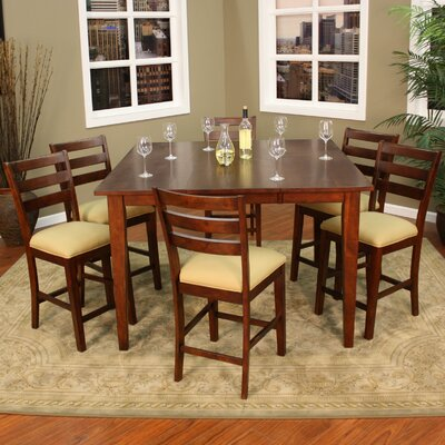 Este 7 Piece Counter Height Pub Set Finish Brown