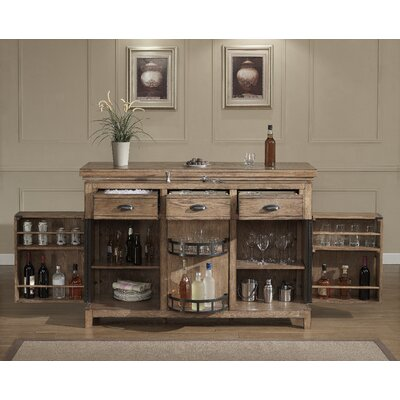 Evolution Bar Cabinet with Wine Storage Finish: Weathered Oak