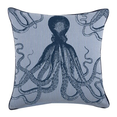 Octopus Seersucker Cotton Throw Pillow