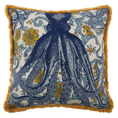Vineyard Octopus Flax Throw Pillow