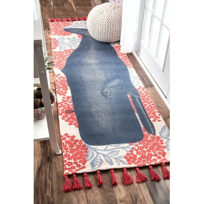 Blue/Red Area Rug Rug Size: Runner 28 x 8
