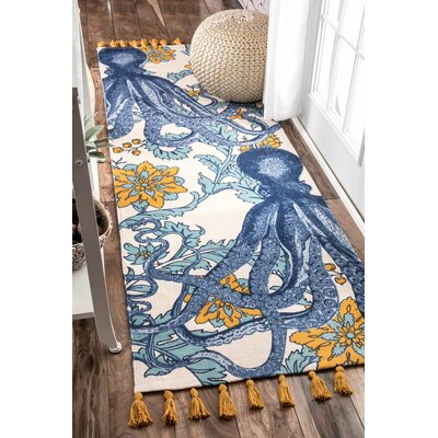 Blue/Yellow Area Rug Rug Size: Runner 28 x 8