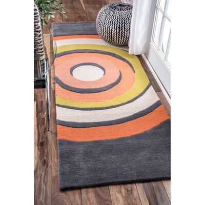 Hand-Tufted Gray Area Rug Rug Size: Runner 28 x 8
