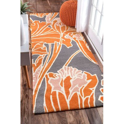 Hand-Tufted Orange/Gray Area Rug Rug Size: Runner 28 x 8