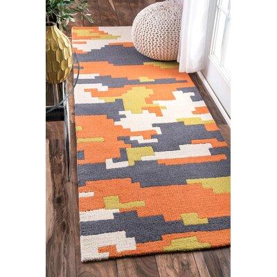 Hand-Tufted Orange/Gray Area Rug Rug Size: Runner 28 x 8