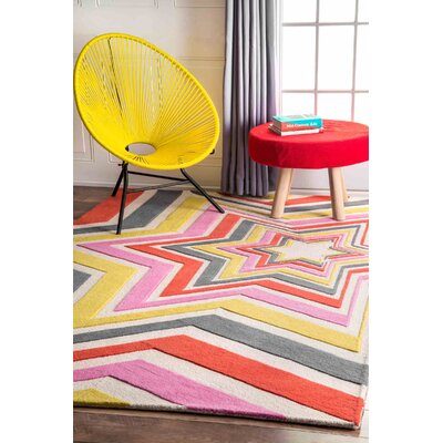 Hand-Tufted Pink/Yellow Area Rug Rug Size: Rectangle 4 x 6